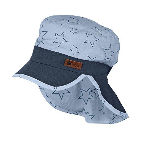 Sterntaler Schirmmütze für Jungen mit Nackenschutz und Sternenmotiv, Alter: ab 12-18 Monate, Größe: 49, Himmelblau