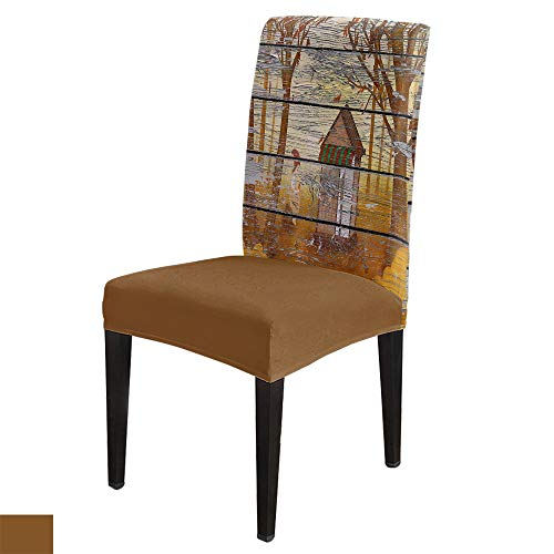 Dining Room Chair Covers Set of 6, Wood Grain Series Log cabin Seat Slipcover, Stretch Removable Washable Chair Protector Cover for Home, Hotel, Ceremony, Banquet
