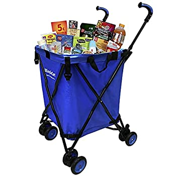 EasyGo Rolling Cart Folding Grocery Shopping Cart Laundry Basket Rolling Utility Cart with Wheels – Removable Canvas Bag - Versa Wheels & Rear Brakes - Easy Folding 120lb Capacity – Copyrighted Blue