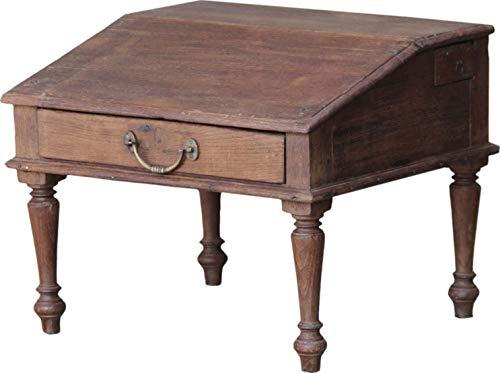 Guru-Shop Bodenschreibpult, Kleines Schreibpult zum Aufklappen - Modell 27, Braun, Teakholz, 38x47x44 cm, Schreibtische & Schreibpulte