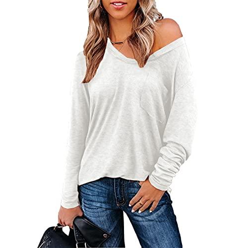 SLYZ Maglietta da donna autunnale, a maniche lunghe, a maniche lunghe, da donna, casual, da donna, bianco, XL
