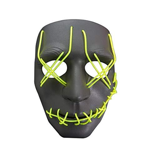 RaveLife Halloween-Maske mit LED-Beleuchtung, für Festivals und Partys - Grün - Einheitsgröße