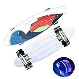 Skateboard complet Mini Cruiser pour filles, enfants, adolescents, adultes, débutants avec roues à LED clignotantes (Blanc)