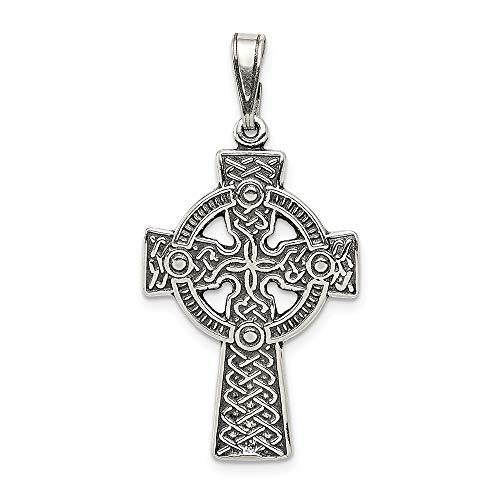 925 Sterling Silver Antiqued Celtic Cross Shaped Pendant