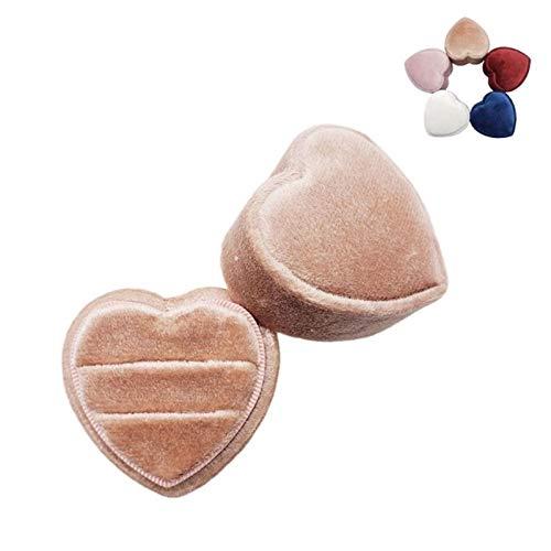 KSFBHC Caja de Anillo de corazón Doble Anillo de Pantalla con Caja de Anillo de Tapa Desmontable para la Ceremonia de Boda (Color : A)