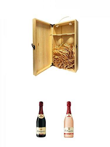 1a Whisky Holzbox für 2 Flaschen mit Hakenverschluss + Rotkäppchen Rubin Sekt 0,75 Liter + Rotkäppchen Sekt Rose alkoholfrei 0,75 Liter