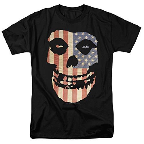 Popfunk Misfits Officially Licensed American Flag Skull T Shirt (Large) Black