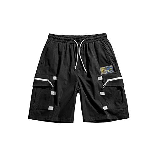 BGGWY Short Harem Cargo Short Homme d'été Été Casual Joggers lâches réguliers Cargo Shorts Multi-Poches Patchwork Hip Hop Hommes Cordon Shorts Streetwear