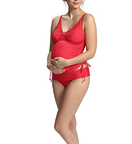 Petit Amour Umstands-Tankini Schwangerschafts-Bikini AVA Bademode Set Oberteil Unterteil rot weiß gepunktet Cup B bis D Gr. S