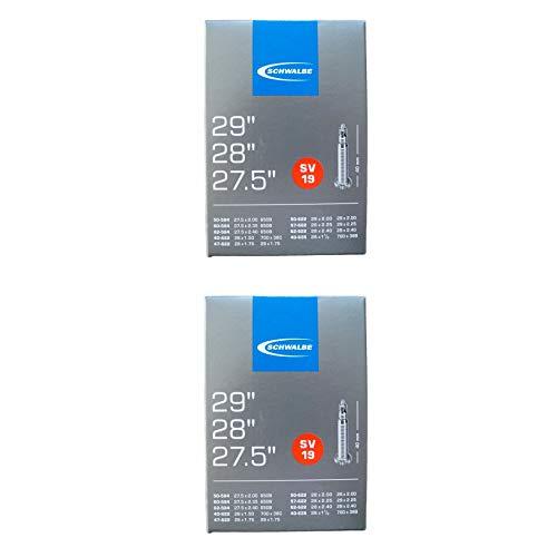 2 x Schwalbe Unisex – Erwachsene Fahrradschlauch SV19 40/62-584/635 EK 40 mm Fahrradzubehör, schwarz, 27,5 29...