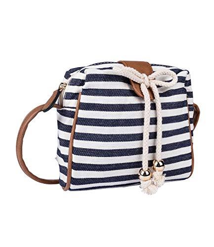 SIX Damen Handtasche, Mini Bag zum umhängen im maritimen Streifenlook, verdeckter Druckknopf, braune Henkel, Schleife aus Tau (726-725)