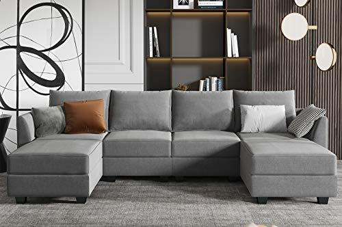 HONBAY Convertible Sectional Sofa U Shaped Couch with Storage, Fabric Modular Oversized Sofa Couch with Reversible Chaise, Grey