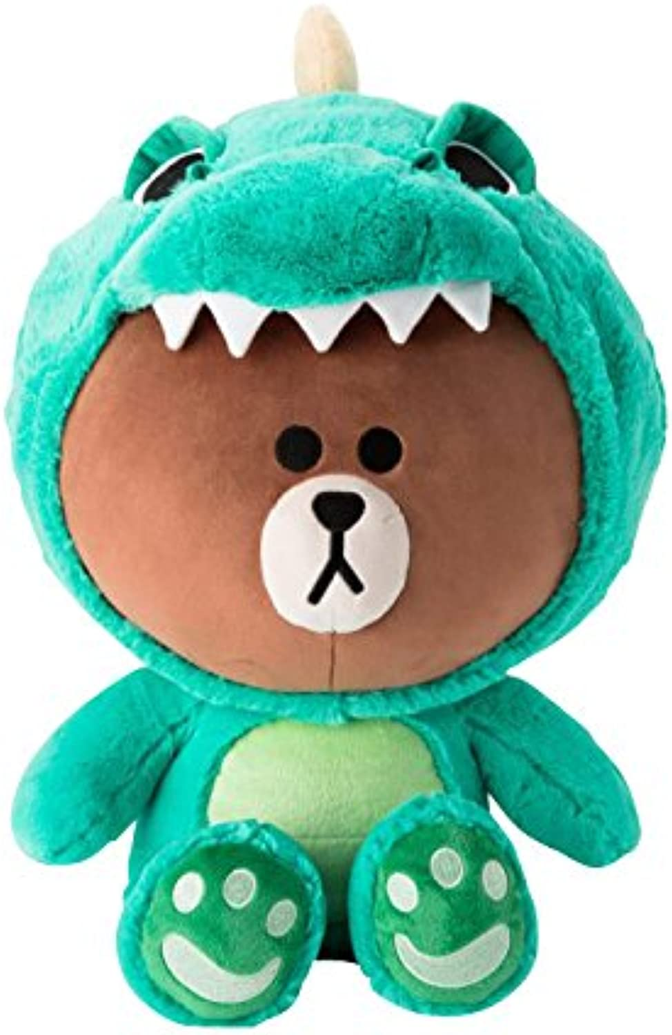 LINE FRIENDS Plush Figure  Dino Brown Character Cute Soft Sitting Stuffed Doll, 18 Inches