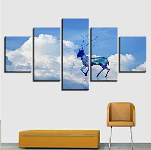 lglays Póster de pared para decoración del hogar, 5 piezas brillantes nubes de ciervos paisaje de lienzo modular HD impreso abstracto, enmarcado 20 x 35 cm x 2,20 x 45 cm x 2,20 x 55 cm