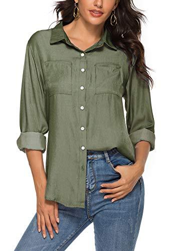 Womens Button Down Shirts Long Sleeve Cotton Work Shirt Slim Fit Formal Dress Shirts Army Green XL