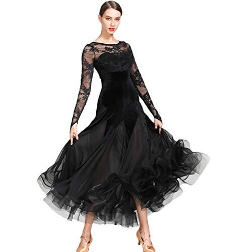 diyade Abiti da Ballo Standard Nazionali per Donne Costume da Competizione Velluto Pizzo Cucitura Vestito da Sociale Tango Moderno Sala da Ballo Gonna in Tulle (Color : Black, Size : M)