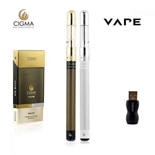Cigma Vape Slim Doppelpack | 2x Die Kleinste und Dünnste, Auflad- und Nachfüllbare E-Zigarette der Welt | E-Zigarette Starterset | E Shisha | Wiederaufladbare Batterie | Auffüllbar