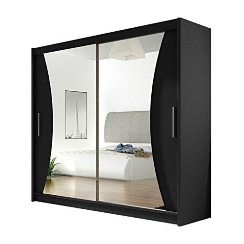 Mirjan24 Schwebetürenschrank London V mit Spiegel, Laminatplatte, Schwarz, 60 x 220 x 10 cm