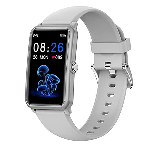 QFSLR Smartwatch Reloj Inteligente con Ciclo Menstrual Femenino Monitor De Frecuencia Cardíaca Monitor De Presión Arterial Podómetro Fitness Tracker para Android iOS,Gris