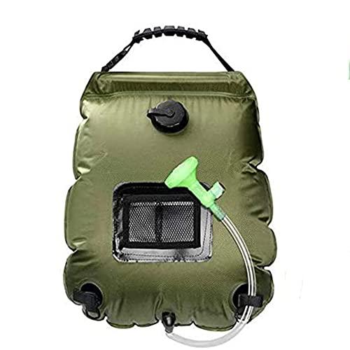 SaltshIII Bolsa De Ducha Solar Ducha Portátil para Acampar Playa Natación Viajar Al Aire Libre Senderismo Bolsa De Ducha con Boquilla 54×47cm/Verde