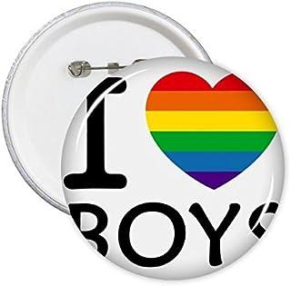 DIYthinker Lgbt arc-en-Gay Lesbian transgenre Bisexuels Support Je aime les garçons Drapeau Illustration Ronde Pins Badge ...