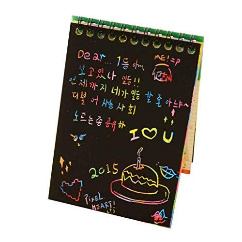 Vokmon 10 Páginas / 1 Libro Colorido arañazos Dazzle Nota Sketchbook Rayado Nota Colorido Graffiti DIY Papel Bobinas Cuaderno de Dibujo Color al Azar