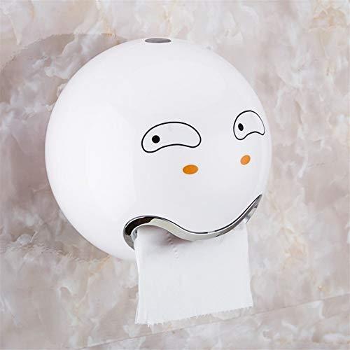 ZH Papierhandtuchhalter, an der Wand befestigter kreativer Rollenhalter der Badezimmer-Küche, sphärischer Netter Emoji-Badezimmer-wasserdichter Toilettenpapier-Vorratsbehälter (Color : A)