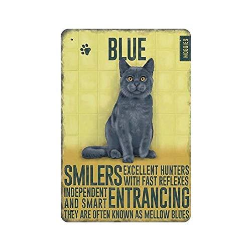 Novelty Metal Sign,Vintage Style Chic Plaque Russian Blue Cat Kitten Kitchen Retro Metal Wall Decor Art Shop Man Cave Bar Garage Aluminum Sign 8 x 12
