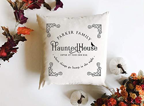 Alicert5II Gepersonaliseerde familie, gehaakt huiskussen, 18 x 18 cm, kussen, deken, Halloween decor, aangepaste herfstkussen, spooky decor, gepersonaliseerd