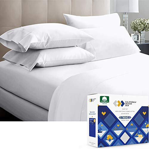 Luxury Sheets 1000 Thread Count 100% Cotton Sheets, Very Smooth Soft & Thick with Deep Pockets Vs. Egyptian Cotton Sheets, 4 Pc Set (Queen, Pure...