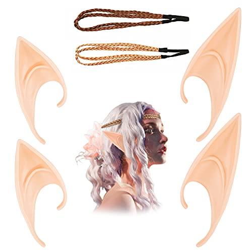 LOVEXIU Orejas De Elfo,Orejas De LáTex,Fairies Pixie Elf Ears 2 Pares Y Diademas De Trenzas De...
