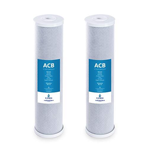 "Express Water – 2 Pack Big Blue Water Filter Activated Carbon Block Replacement Filter – ACB Large Capacity Water Filter – Whole House Filtration – 5 Micron Water Filter – 4.5"" x 20"" inch"