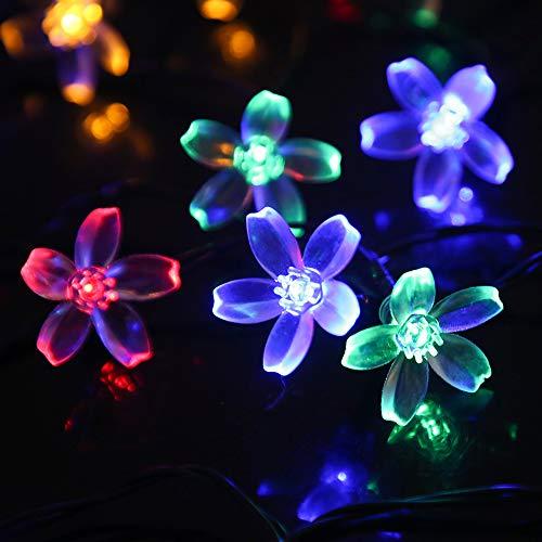Solar LED Flower String Light, Outdoor Fairy Light with 23ft 30 LEDs Blossom Lighting Decor for Home Garden, Patio, Christmas, Wedding, Party (Multi-Color)