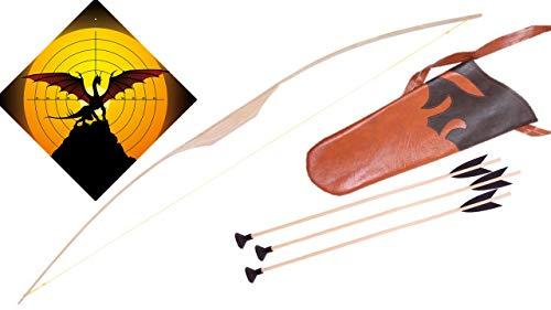 filounior Kinderbogen aus Eschenholz mit 3 Pfeilen & Köcher Pfeil und Bogen Holzbogen Set Zielscheibe (Drache)
