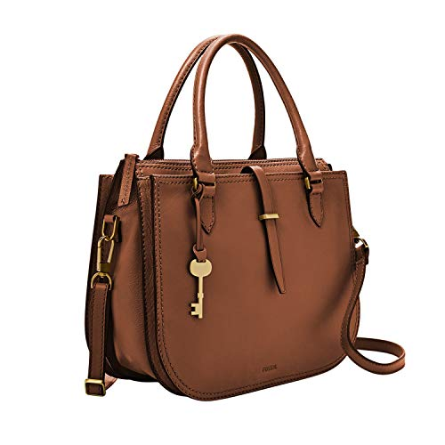 "100% genuine leather; zipper closure; imported Exterior Details: 2 gusseted slide pockets; brass hardware Interior Details: 1 zipper pocket, 2 slide pockets; polyester lining Measurements: 12""L x 6""W x 10""H 2 handles with 5.5"" drop; 1 adjustable & de..."