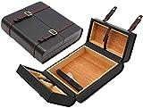 Dljyy - Caja de cigarros de madera de cedro para cigarrillos, caja de hidratación de cigarros, puede contener 15 cigarros (color: negro, tamaño: 225 x 228 x 68 mm).