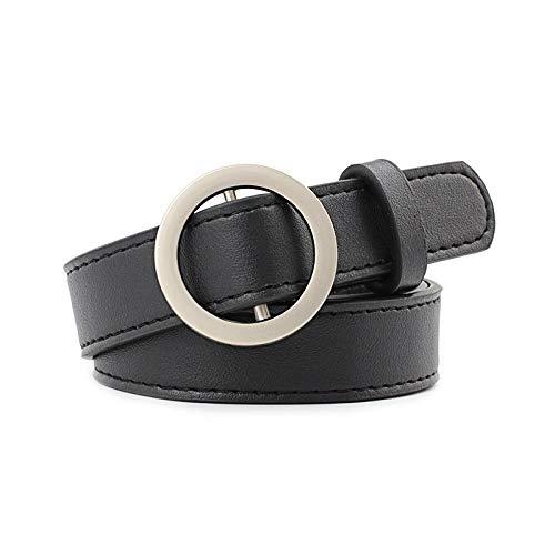 Ceinture Fashion PU Leather Women Belt Round Buckle Belt Ladies Pants Dress Jeans All-Match Simple Punk Decorative Belt Black