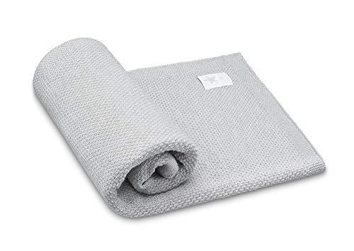 Elimeli Babydecke Wolldecke Kuscheldecke 100% Merino Schurwolle perfekt für Babys in Geschenkverpackungen (Grey)