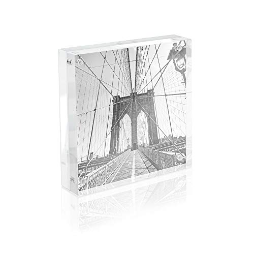 Isaac Jacobs Super Thick Acrylic Magnetic Block Frame, 4x4 inches