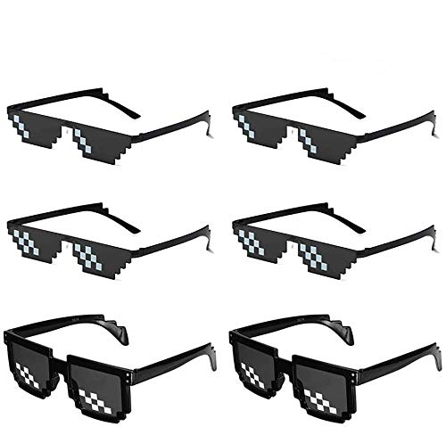 O-Kinee LAKIND MLG Brille 6-Pack Pixelbrille MLG Sonnenbrille Pixel Brille Lustig Spielzeug Mosaik Sunglasses Ideal für Partys und Verkleidungen (6-Pack)