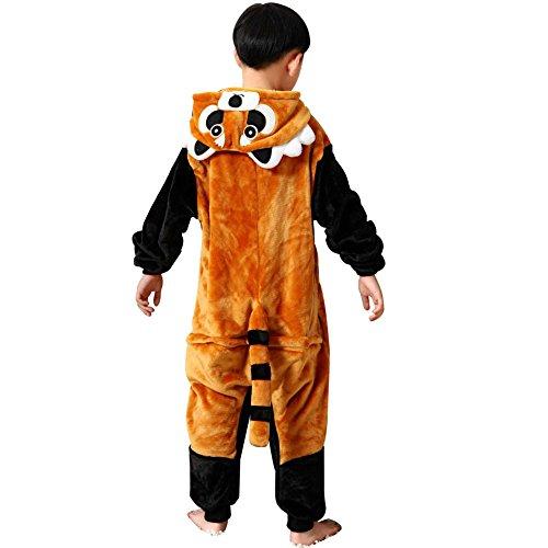 Missbleu Deguisement enfant pyjama combinaison animaux pyjama polaire enfant Coon taille 140