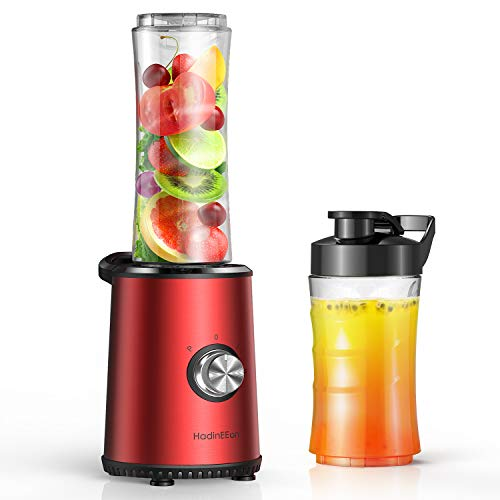HadinEEon Blender with 3 Adjustable Speeds, 300W Powerful Motor Base, Stainless Steel Personal Blender for Shakes and Smoothies, Portable Blender with 20oz & 10oz Tritan BPA Free Travel Bottles
