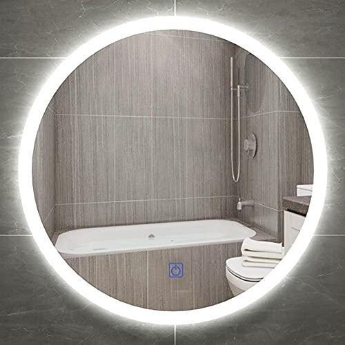 HHDD Espejo de Baño de Vanidad Redondo LED Montado en la Pared, con Botón Táctil, Espejo Retroiluminado LED Regulable, Espejo de Maquillaje Iluminado a Prueba de Explosiones