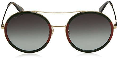 Fashion Shopping Gucci GG0061S 003 Green/Red/Gold GG0061S Round Sunglasses Lens Category 3 S