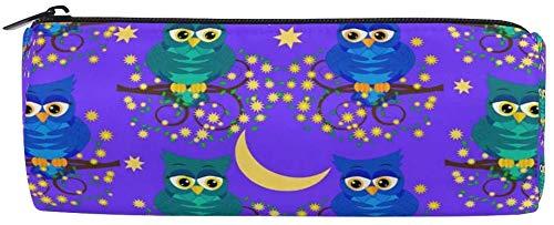 Trousse à crayons mignons hiboux nocturne arbres branches lune étoile à fermeture éclair pour adolescents filles et garçons, sac de maquillage de voyage pour femme