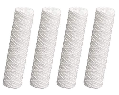 Juego de 4 cartuchos de filtro de 25,4 cm, sedimento enrollado 1 µ, filtro grueso de alambre envuelto en ósmosis inversa, prefiltro de agua, filtro de agua para pozos, tratamiento de agua