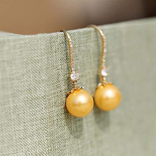 Shability High-Finish Elegant Pave Setting Zircon Pearl Joker Pearl Earrings Earrings yangain (Color : Gold)