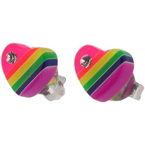 Touch Jewellery - Orecchini da lobo inargento sterling, con cuore in resina color arcobaleno e cristalli