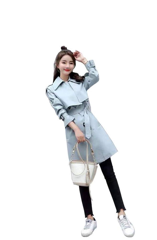 トレンチコート 春コート ロング丈 ベルト付 レディース ビジネス 女性 100%コットン ファッション シンプル 美ライン ポケット付 フロントボタン シンプル キレイめ