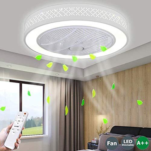 LED Ventilador De Techo 40W Lámpara Creative Regulable Ventilador De Techo Invisible Lámpara Luz De Techo Del Ventilador De Bajo Ruido Adecuado Para Sala De Estar Dormitorio Habitación Infantil